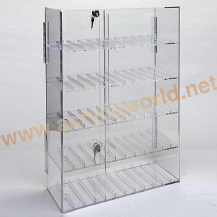 Merchandising Desk Top Merchandising 4-Tier Lockable Transparent Acrylic E-Liquid Bottle Display
