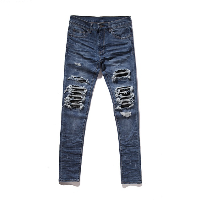Justin Bieber Black Icon Designer Men Ripped Jeans Blue/Black Destroyed Slim Denim Casual Skinny Ruched Jeans