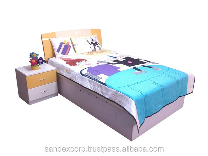 100% cotton blue brown baby bedding