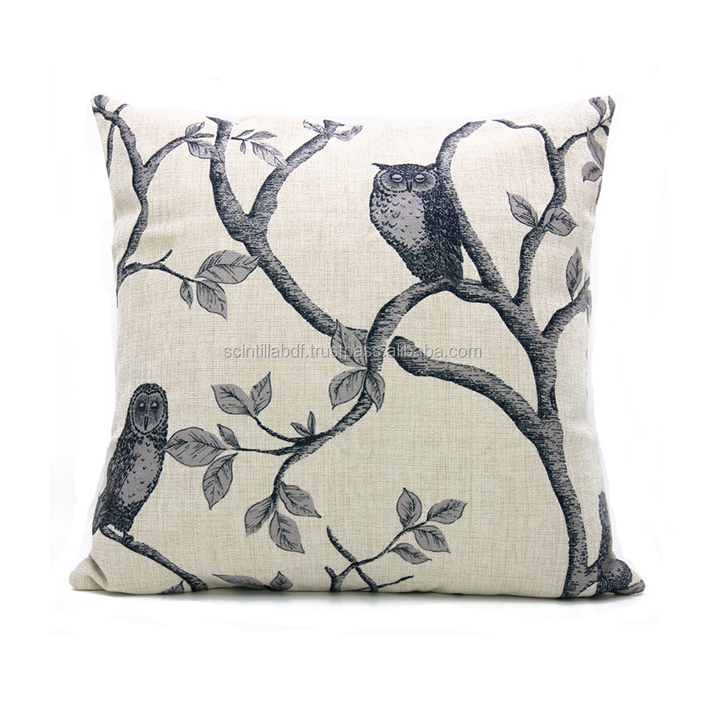LG0002,Free Shipping,1pc, Outdoor Patio Owl Nature Cotton Linen Cushion Cover,Custom Accept