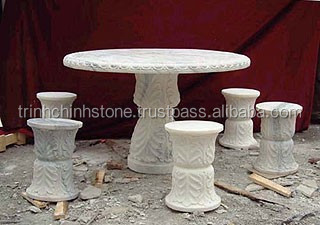 Outdoor Coffee Marble Table Furniture Hand Sculpture Carving Stone For Home, Garden And Restaurant