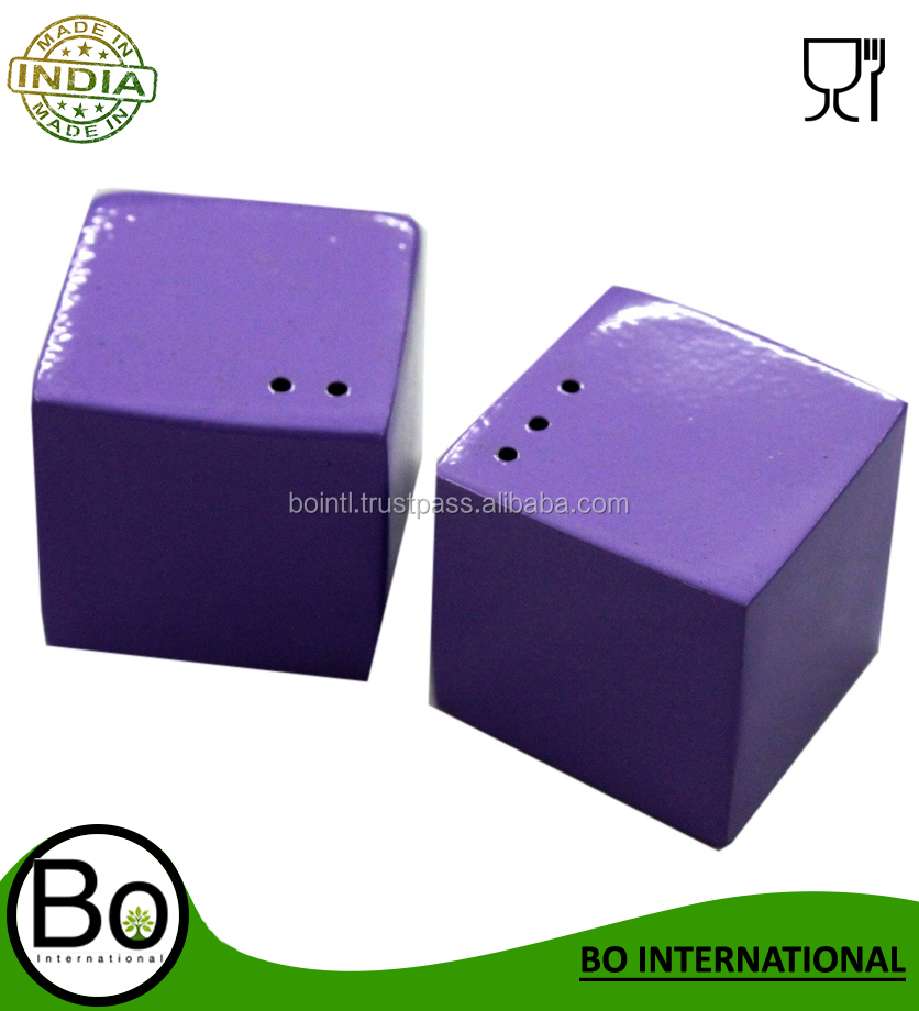 Stainless Steel Purple Salt And Pepper Shaker Cube 10.5 x 5.5 x 5.5 cm