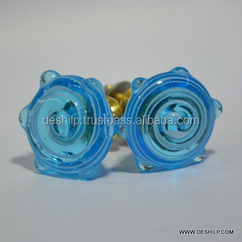 BLUE COLOR GLASS KNOBS