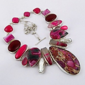 Most Clever Red Onyx & Viva Pearl & Druzy & Fuchsite 925 Sterling Silver Necklace, Silver Jewellery 925, Silver Jewellery India