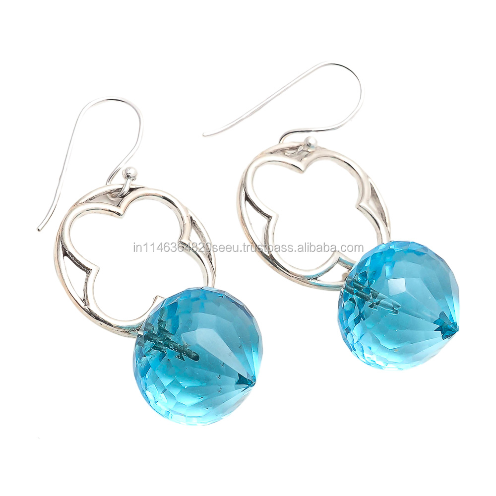 925 Sterling Silver Blue Topaz Flower Design Silver Gemstone Earrings