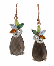 Sterling Silver Earrings With Smokey Quartz,Citrine,Peridot,Sky Blue, Tsavorite & WhiteTopaz