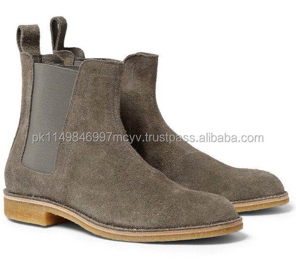 Chelsea Boots / Handmade mens gray color chelsea suede leather boots Men gray suede boots
