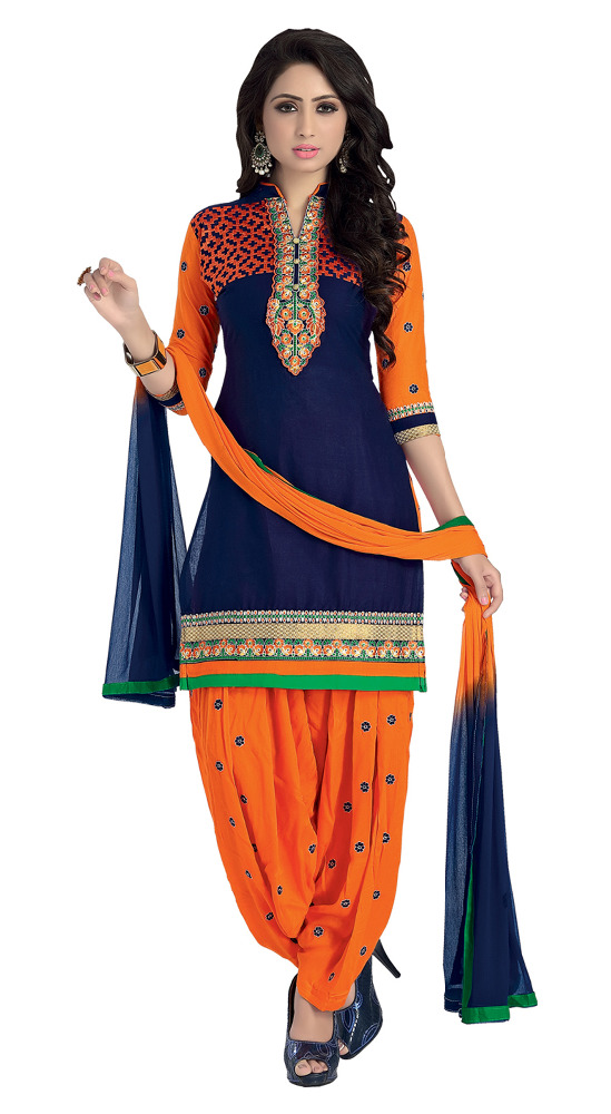 Women's Unstitched Blue & Orange Colour Party Wear Patiala Salwar Kameez ( Low Price Dresses )