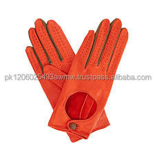 Womens Orange Leather Driving Gloves.Leather Winter Gloves/Leather fashion glove