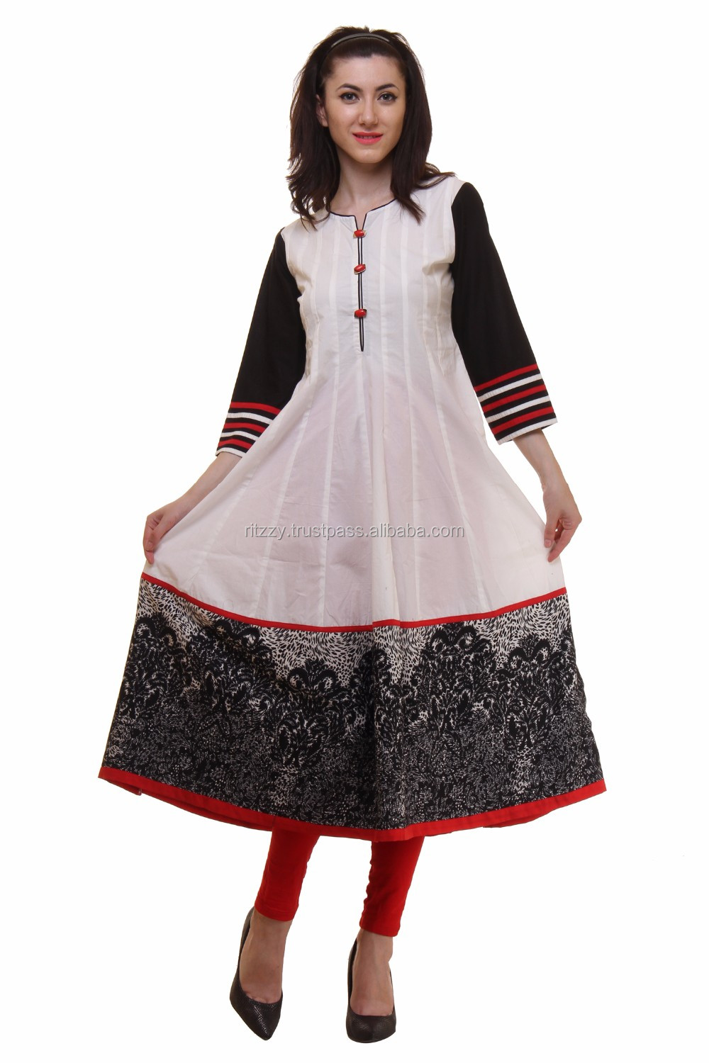 Wholesale Indian Designer Black and White Cotton Printed Kurta Dress For Ladies