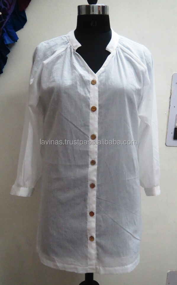 Indian Cotton White Top Designer Long Tunic Fashionable Dress Tunic Manufacturer