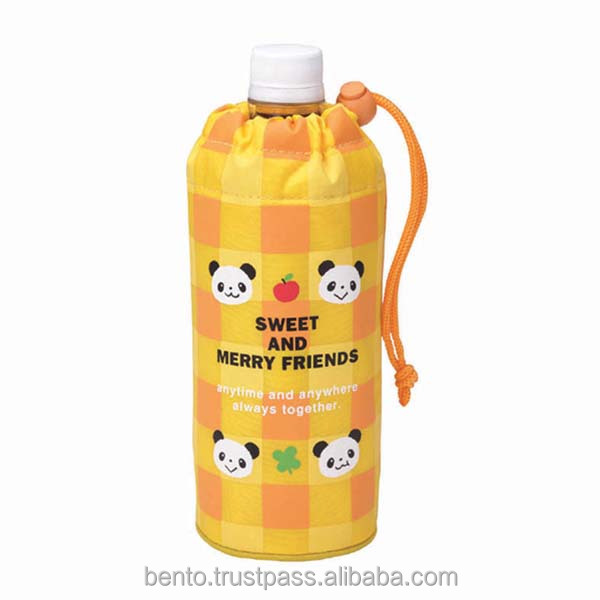 Pet Bottle Cover Panda (YE)/thermal bag, water bottle holder, 500ml pet bottle, kids water bottle bag, travelling bag