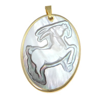 Natural B Shell Pendan with ass Aries gold color plated 30x45x2mm Hole:Appr 5x3mm 12PCs/Bag Sold By Bag