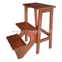 Wooden foldable step stool/ chair, ladder utility stool