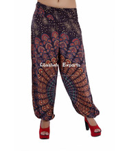 2628 Rayon pant Printed Harem Pants Supplier Patch Skirt Falds Dress Harem Pants Alibaba Trousers Vintage Saree Silk