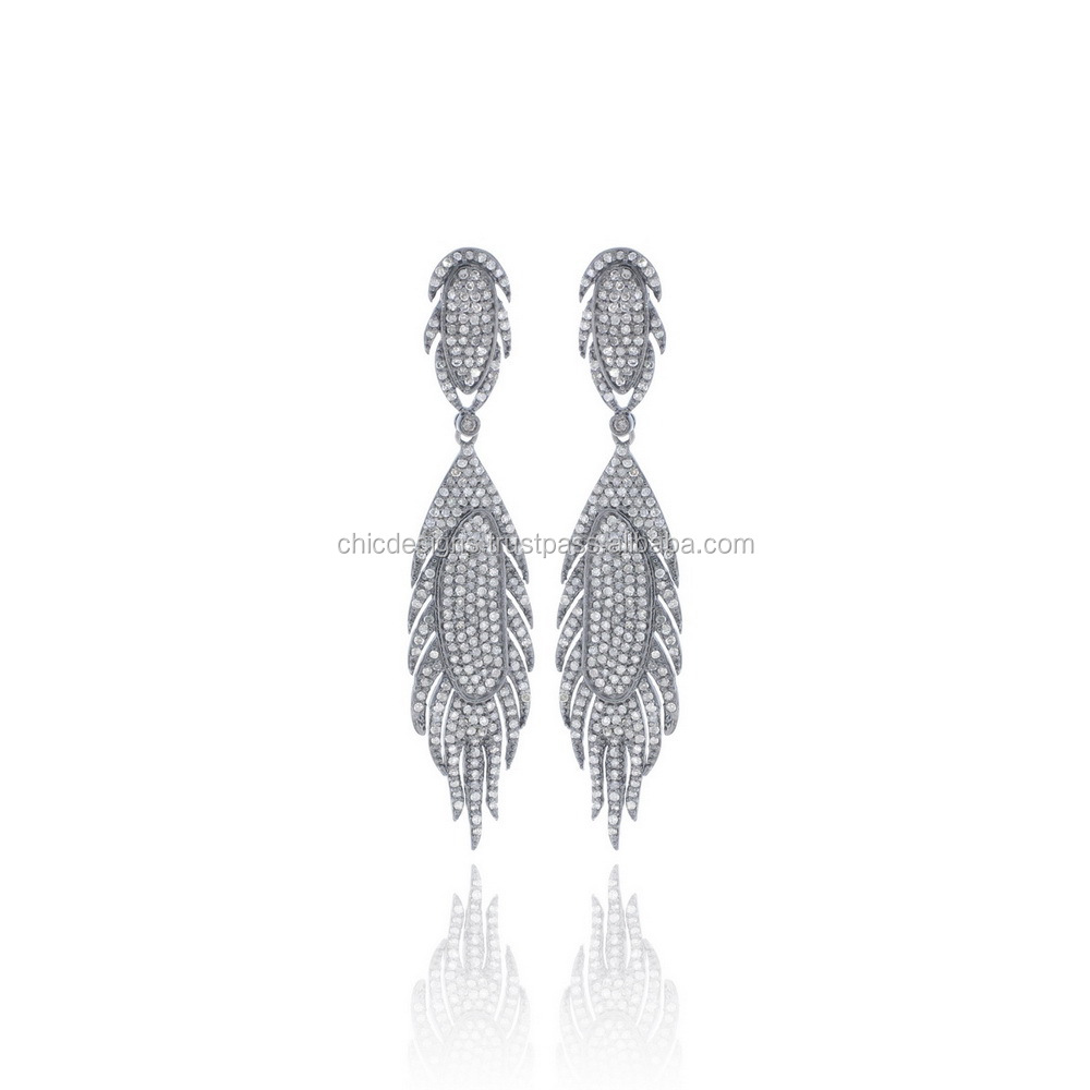 Pave Diamond Earrings Jewelry Single Cut Diamond Designer Leaf Feather Dangle Earrings 14K Yellow Gold Diamond Jewelrry