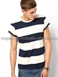 new men Fashion White and black stripe Design Slim Fit Long Line T Shirt Men
