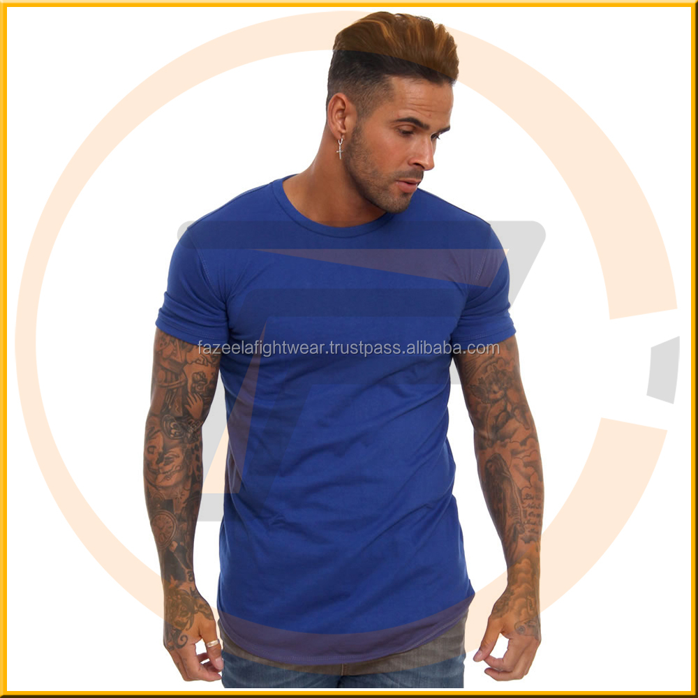 Soft Black Cotton Spandex Men's Long Sleeve T Shirt Long Drop Curved Hem T-Shirt Round Bottom T Shirt OEM Gym T Shirt