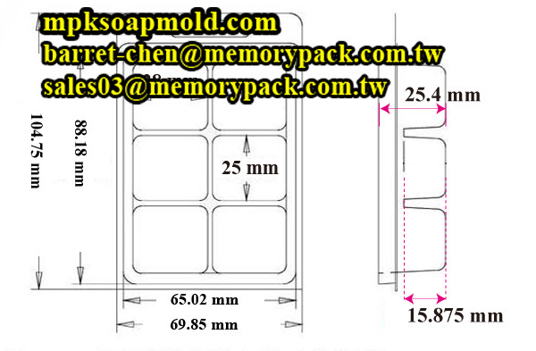 PVC PET 6 cavity wax clamshell mold candle packaging mpk