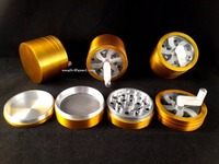 63 MM 4 Part Metal Handle Herb Grinder : Solid Color : Glass Smoking Pipes