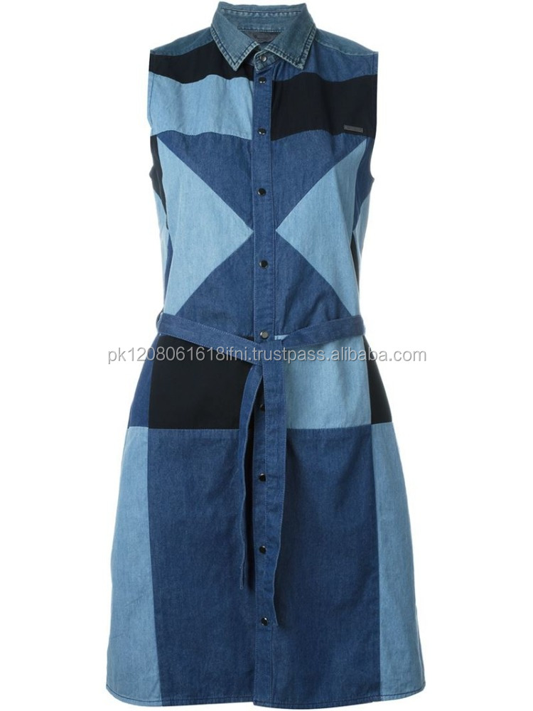 blue jeans denim patchwork shirt dress