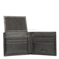 Factory OEM leather material RFID card wallet for men , black rfid wallet