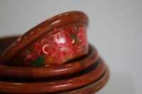 laminated wood bowl/ peach blossom picture/ brown priming