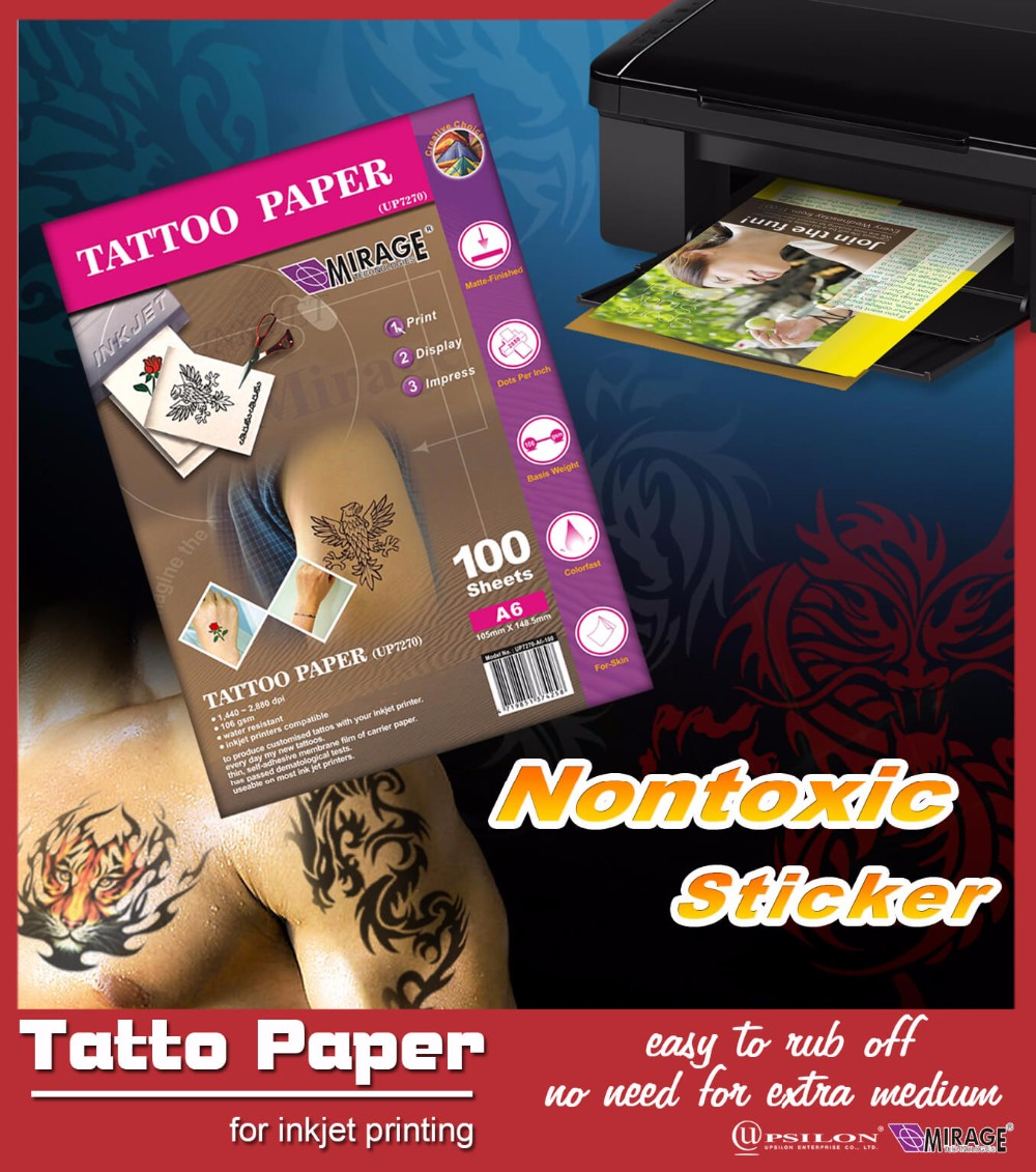 DIY Inkjet A4 Temporary Tattoo Transfer Paper