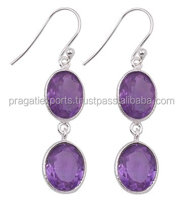 Authentic Jewelry Semi Precious Amethyst 925 Sterling Silver Earrings