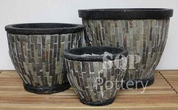 Round Mosaic Cement Pot/ planter