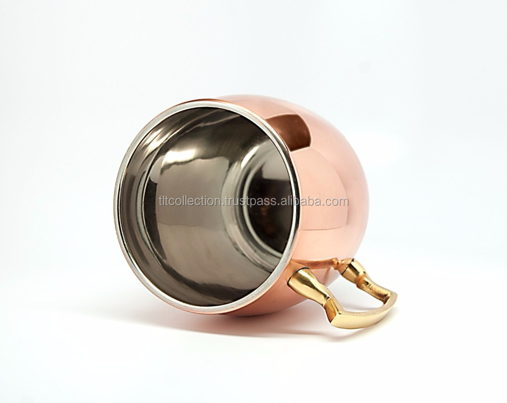 Stainless Steel Moscow Mule Barrel Hammered Mug with Brass Handle Copper Plated