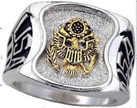 2017 Fashion stainless steel unique design gold us army ring united states military ring