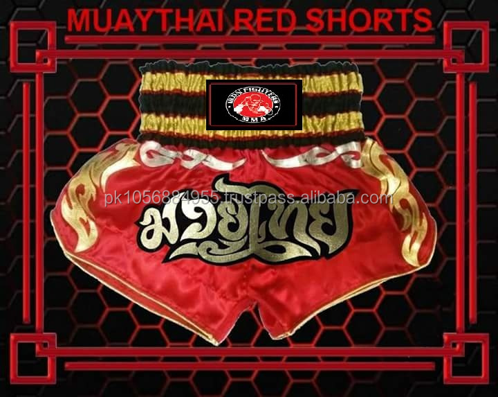 Muay Thai Short Red with Gold Design