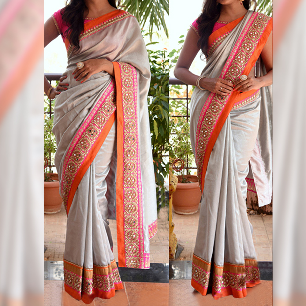 Surat tex Off White Colored Satin Chiffon Embroidered Saree With Blouse Pice- BSNX-83