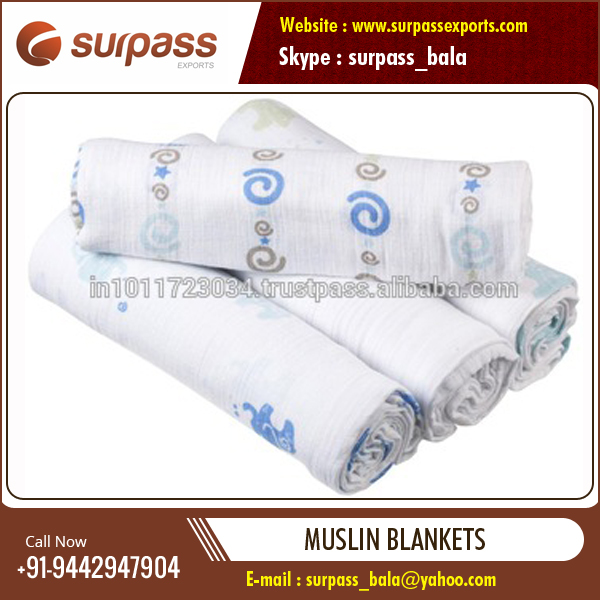 Customized Soft Cotton Muslin Swaddle Blankets at Affordable Price