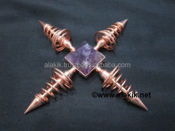 Copper Coil generator with Amethyst Pyramid : Wholesale pyramid generator