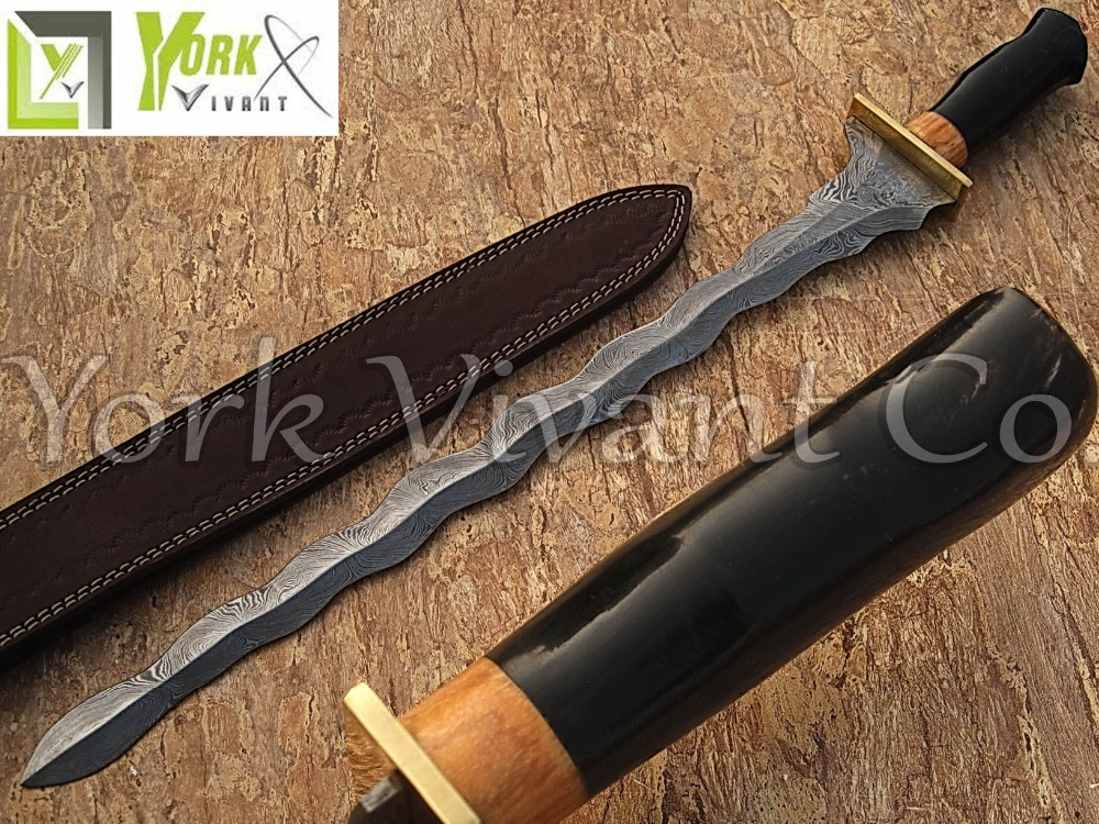 York Vivant-Custom Handmade Damascus Steel Wavy Blade Sword YV-S1 Brass Bolster, Buffalo Horn & Walnut Wood Handle