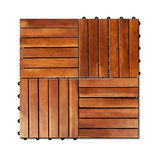 Outdoor deck tiles, garden solid wood flooring with plastic base, natural