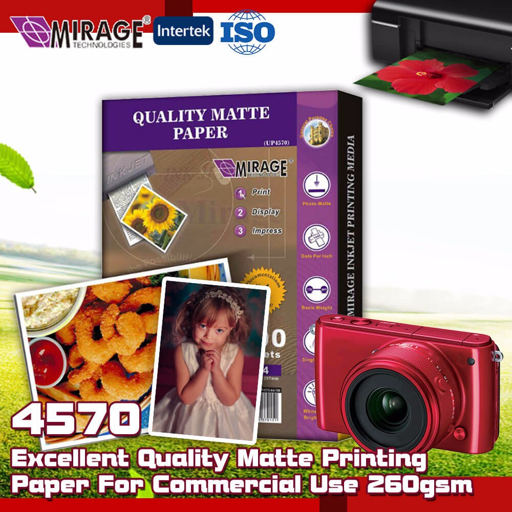 Commercial Use 170gsm Waterproof Matte Photo Paper