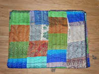 Indian Hand Stitched Old Silk Sari Recycled handmade kantha Quilt Vintage patchwork Blanket Wholesale