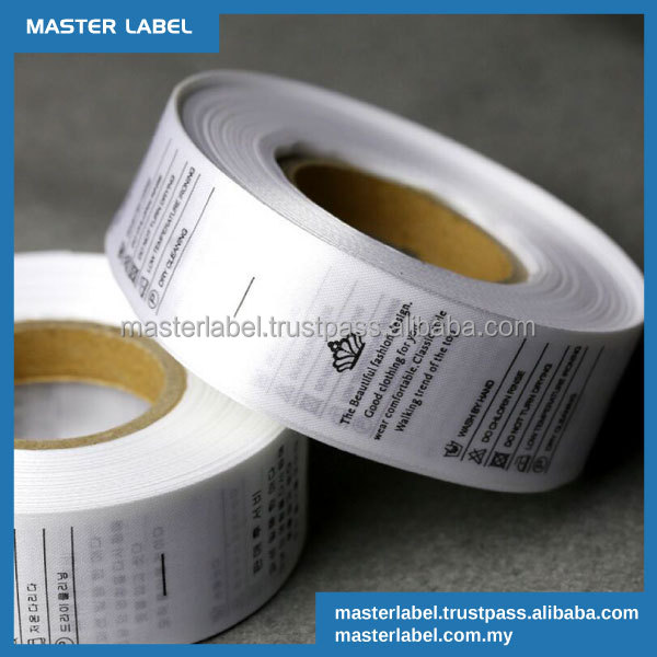 Best Price Satin Polyester Garment Care Printed washing Instruction Apparel Fabric Clothing Label