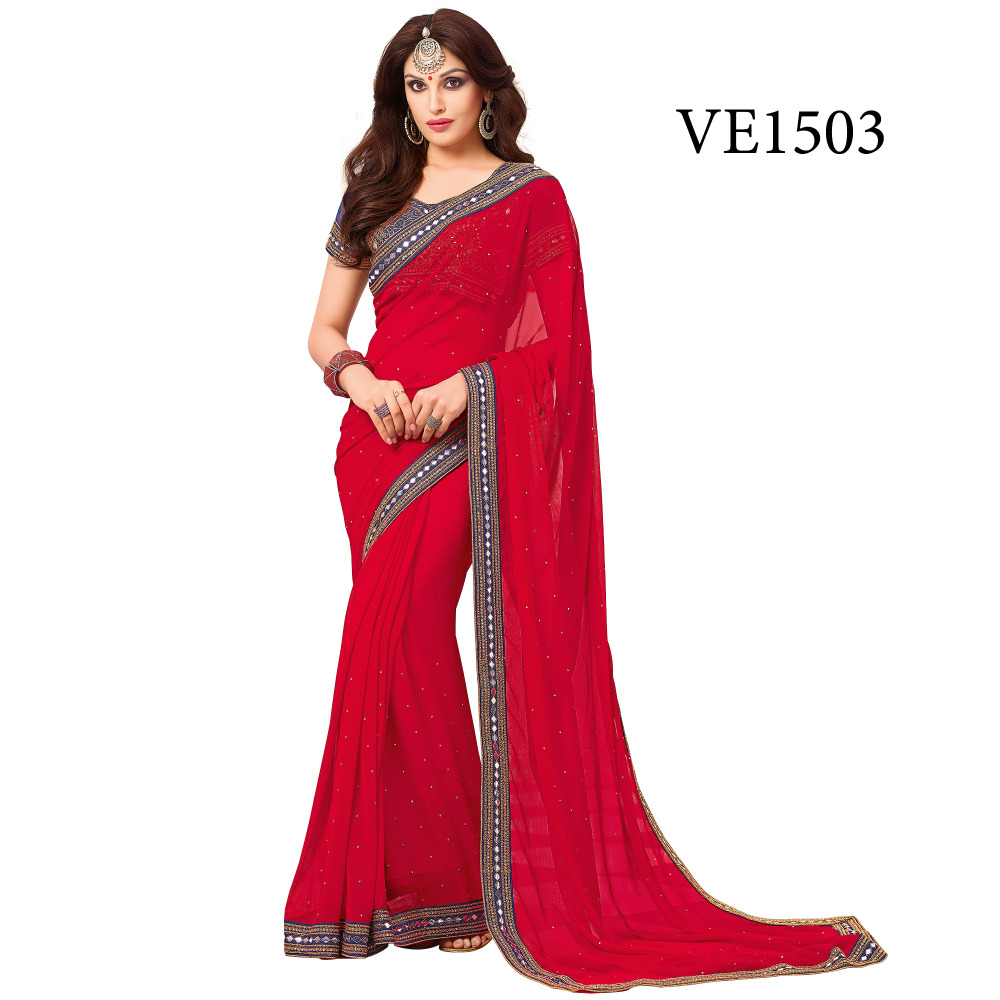 Red Color funncy lace Border Chiffon saree