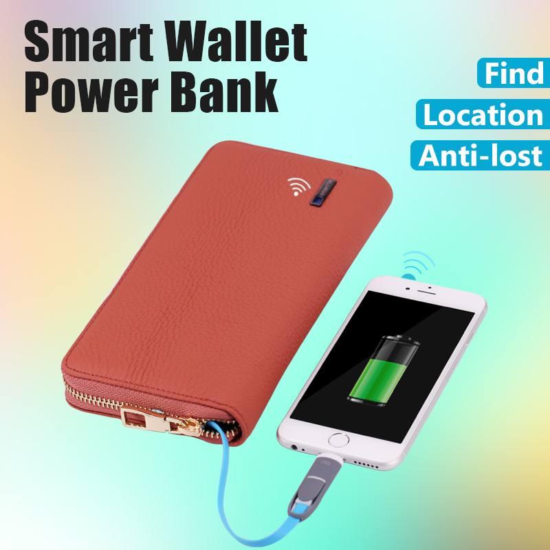 Anti-lost smart wallet New Product Wallet Leather Case with zipper smart wallet