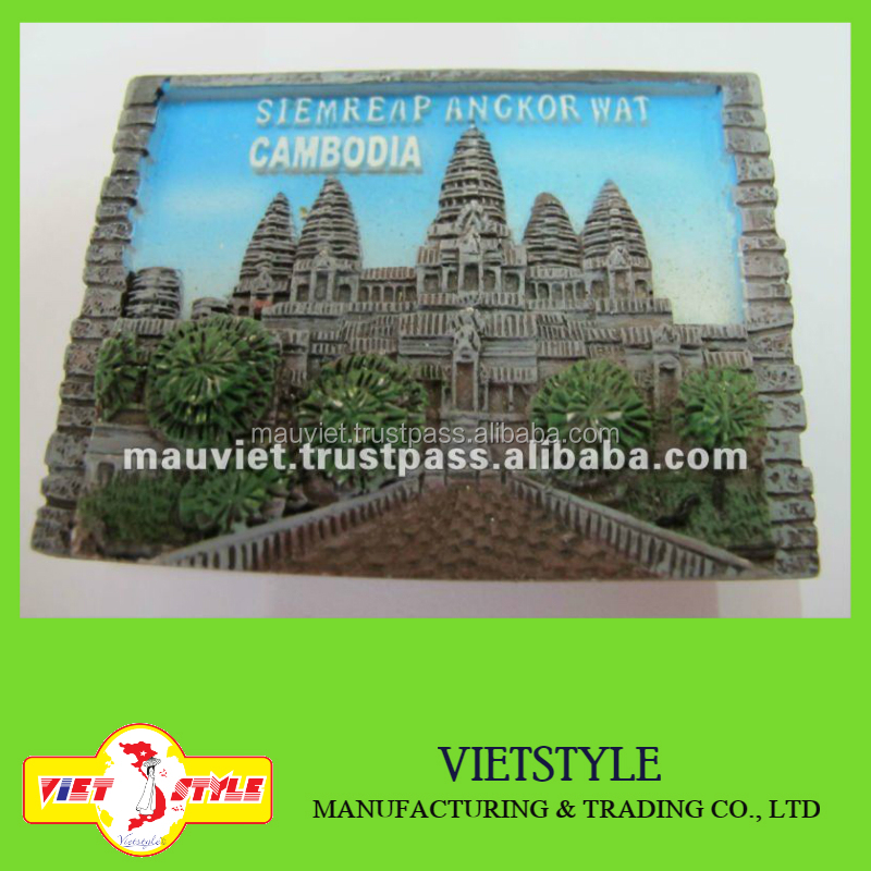 Polyresin Cambodia landscape fridge magnet for home decoration
