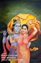 Jaipur Rajasthan Indian Art Gallery Hindu God Krishna Goddess Radha Oil Canvas Painting