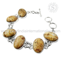 scenic 925 Sterling Silver Jewelry picture jasper Gemstone Bracelet Handmade Silver Jewelry Jaipur Supplier