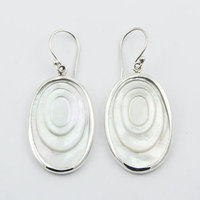 Sterling Silver Shell Earrings Oval Mother Of Pearl Danglers