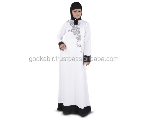 Elegant Formal Wear Abaya /Embroidered White Jilbab/Islamic Clothing Burka./Wholesale Dynamic Popular White Abaya.