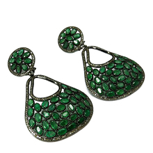 Beautiful Dangler !! Emerald & Diamond 925 Sterling Silver Earring, Diamond Jewelry, Dangler SIlver Earring
