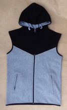 Gym New Style sleeveless zipper hoodie/ men gym plain sleeveless hoodie/ Men's workout running hoodie